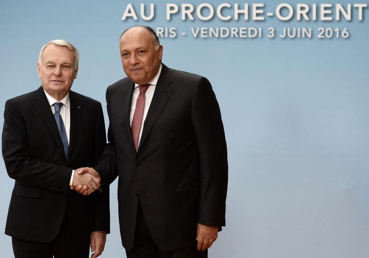 שר החוץ הצרפתי ז'אן מרק אירו ושר החוץ המצרי בוועידת פריז. צילום: AFP