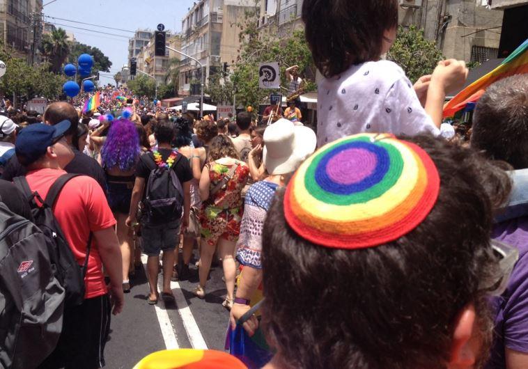 חובשי כיפה במצעד הגאווה. צילום: ללא