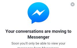 הודעת העברת הודעות לאפליקציית המסנג'ר