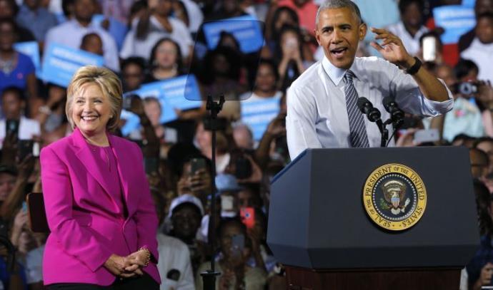 אובמה בעצרת תמיכה בהילרי קלינטון