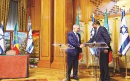 נתניהו וראש ממשלת אתיופיה במהלך ביקורו במדינה