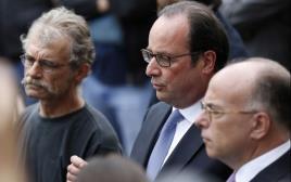 נשיא צרפת פרנסואה הולנד בזירת הפיגוע בצפון צרפת