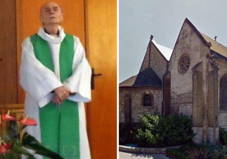 ז'ק המל, הכומר שנרצח בפיגוע והכנסייה בעיר סנט אטיין דו רובריי. צילום מסך