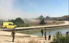 כוחות הביטחון בזירת הטביעה מאגר מים כיסופים