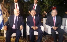 ראש הממשלה בנימין נתניהו, שגריר מצרים חזאם חייראת ונשיא המדינה ראובן ריבלין