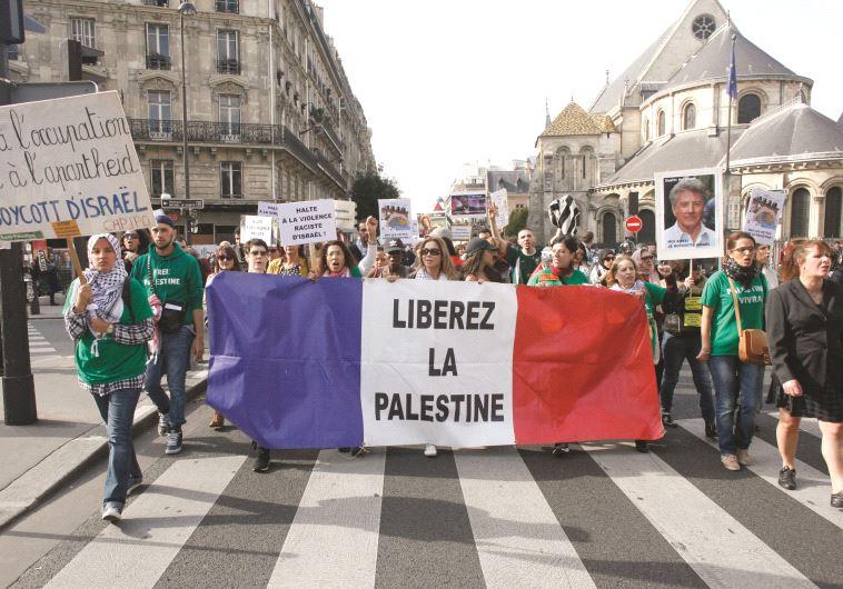 הפגנות נגד ישראל בצרפת. צילום: MATTHIEU ALEXANDRE.AFP