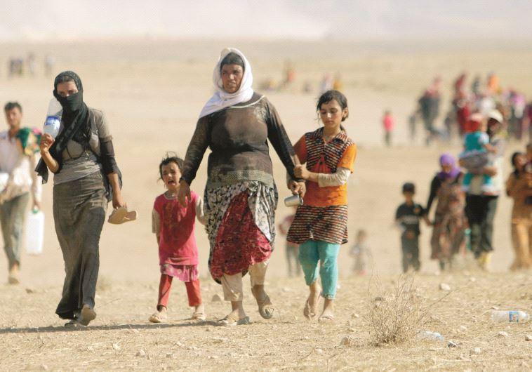 נשים יזידות בורחות עם ילדיהן מאזור הקרבות, אוגוסט 2014. כמו בתהלוכת מוות. צילום: רויטרס