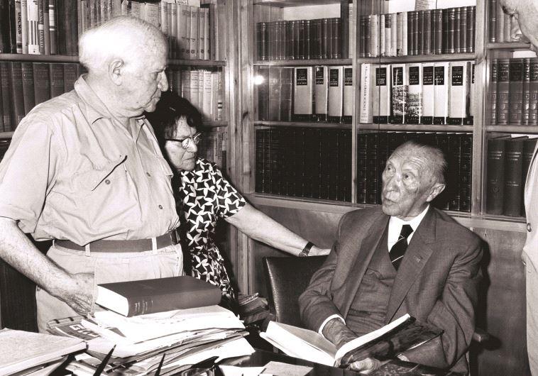 דוד בן גוריון עם קונרד אדנאואר, קנצלר גרמניה לשעבר, 1965