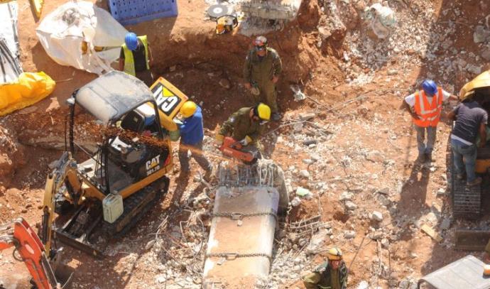 אתר קריסת החניון בתל אביב ברמת החייל