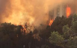 שריפה בשכונת רוממה בחיפה