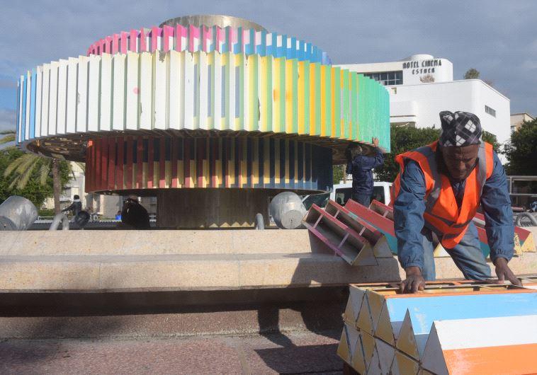 עבודות פירוק כיכר דיזנגוף. צילום: אבשלום שושני