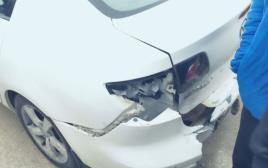 """רכבו של המורה מבי""""ס בשגב שלום שהותקף"""