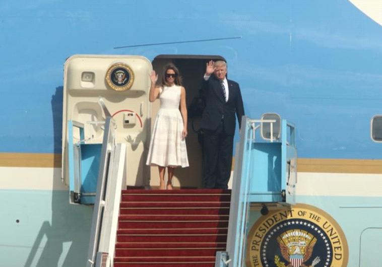 """הנשיא טראמפ ורעייתו מלניה בביקור בארץ. """"ביקור חשוב"""". צילום: אבשלום ששוני"""
