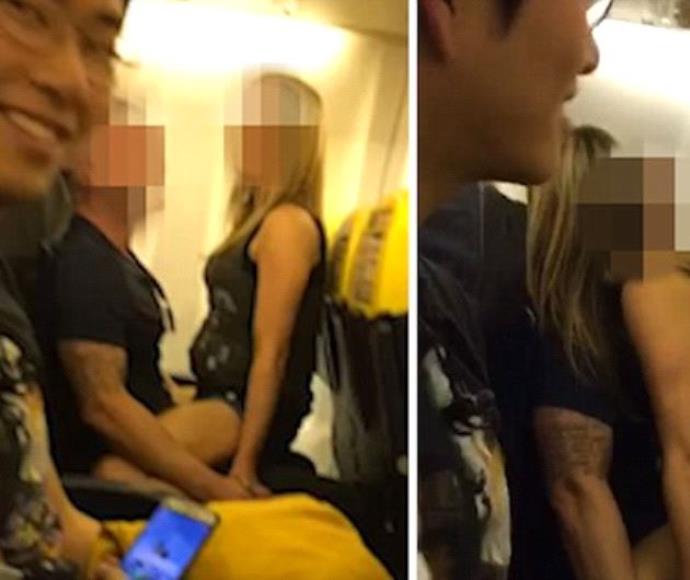 זוג מתמזמז על המטוס לעיני צופים נלהבים ומשועשעים