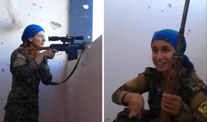 צלפית כורדית צוחקת בפניהם של לוחמי דאעש