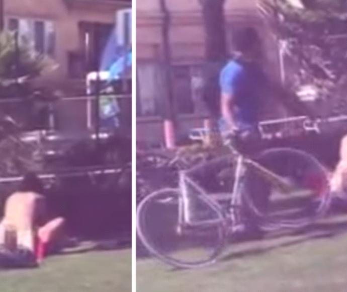 גבר זרק אופניים על זוג שקיים יחסי מין ליד גן שעשועים
