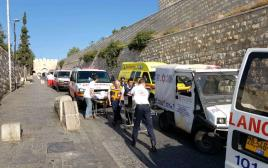 זירת פיגוע הירי בשער האריות בירושלים
