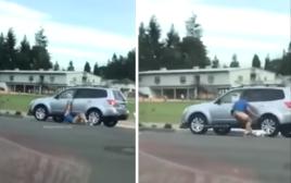 מביך. נפלו לו המכנסיים בזמן שניסה לגנוב מכונית